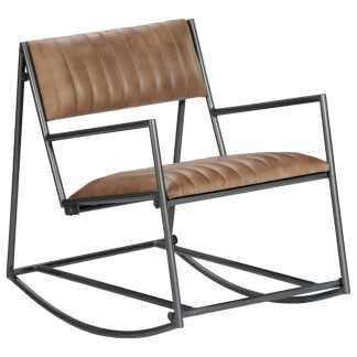 vidaXL Supamas krėslas, šviesiai rudos sp., tikra oda