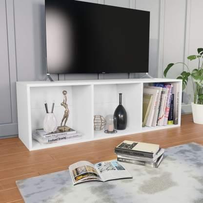 Spintelė knygoms/TV, baltos sp., 36x30x114cm, medž. drož. pl.