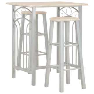 vidaXL Baro baldų komplektas, 3 d., mediena ir plienas