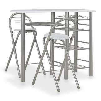 vidaXL Baro baldų kompl. su lent., 3 d., baltos sp., med. ir plienas