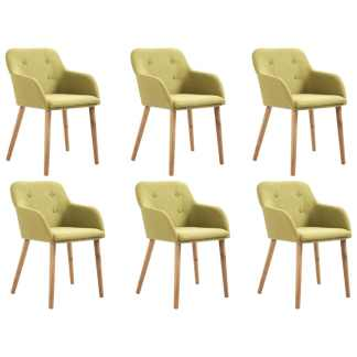 vidaXL Valgomojo kėdės, 6 vnt., žalias audinys ir ąžuolo med. mas.