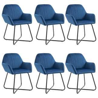 vidaXL Valgomojo kėdės, 6vnt., mėlynos spalvos, aksomas