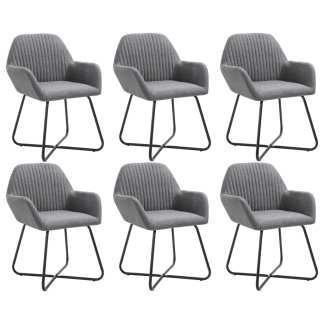 vidaXL Valgomojo kėdės, 6 vnt., tamsiai pilkos, audinys (3×249808)