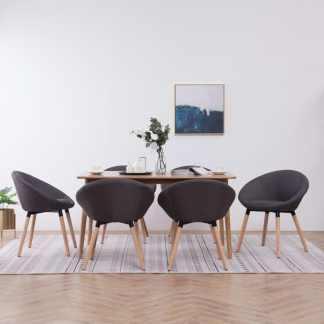 vidaXL Valgomojo kėdės, 6 vnt., tamsiai pilkos sp., audinys (3×283440)