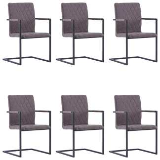 vidaXL Valgomojo kėdės, 6 vnt., tams. rudos sp., dirbt. oda, gembinės