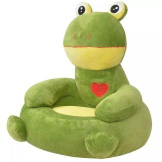 vidaXL Pliušinė vaikiška kėdė varlė, žalia