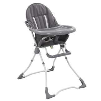 vidaXL Aukšta maitinimo kėdutė, pilkos ir baltos spalvos