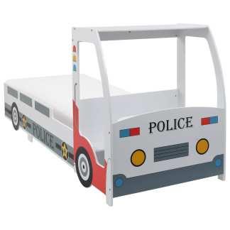 vidaXL Vaikiška lova policijos automobilis, su čiužiniu, 90x200cm