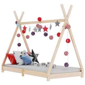 vidaXL Vaikiškos lovos rėmas, 80x160cm, pušies medienos masyvas