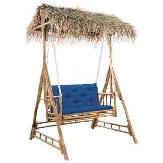 vidaXL Dvivietės sūpynės su palmių lapais ir pagalve, 202cm, bambukas