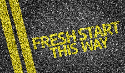 Fresh Start, This Way written on the road