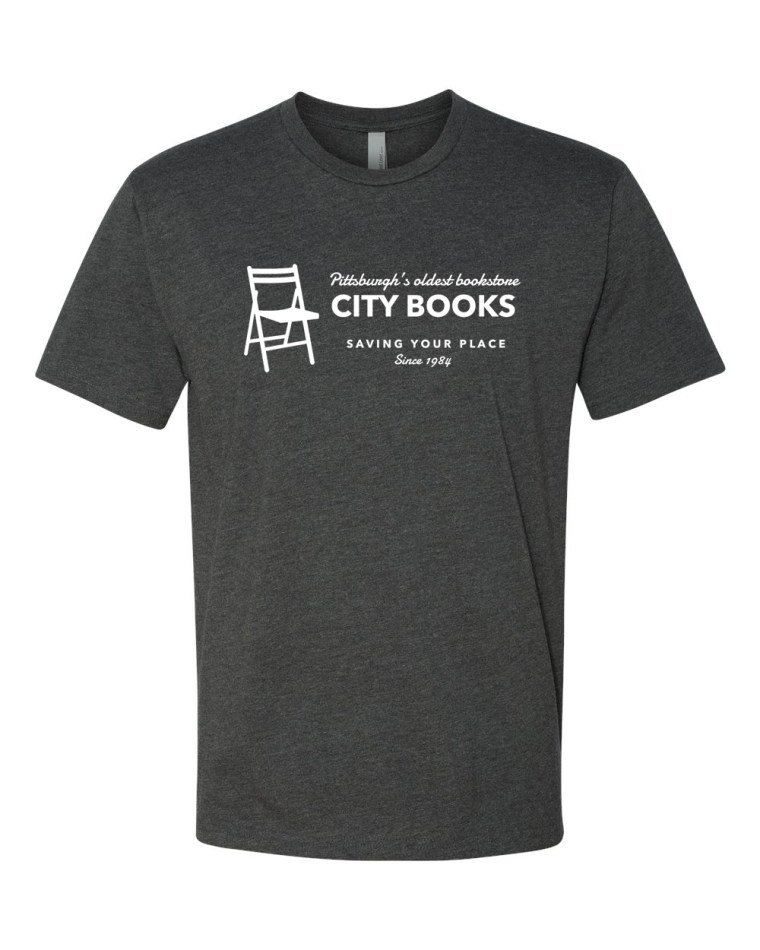 Heather gray tshirt with the phrase City Books, Saving Your Place Since 1984