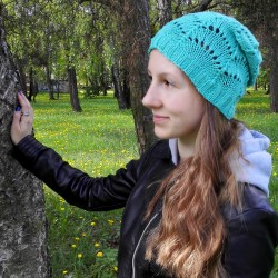 knitted lace hat, cotton hat