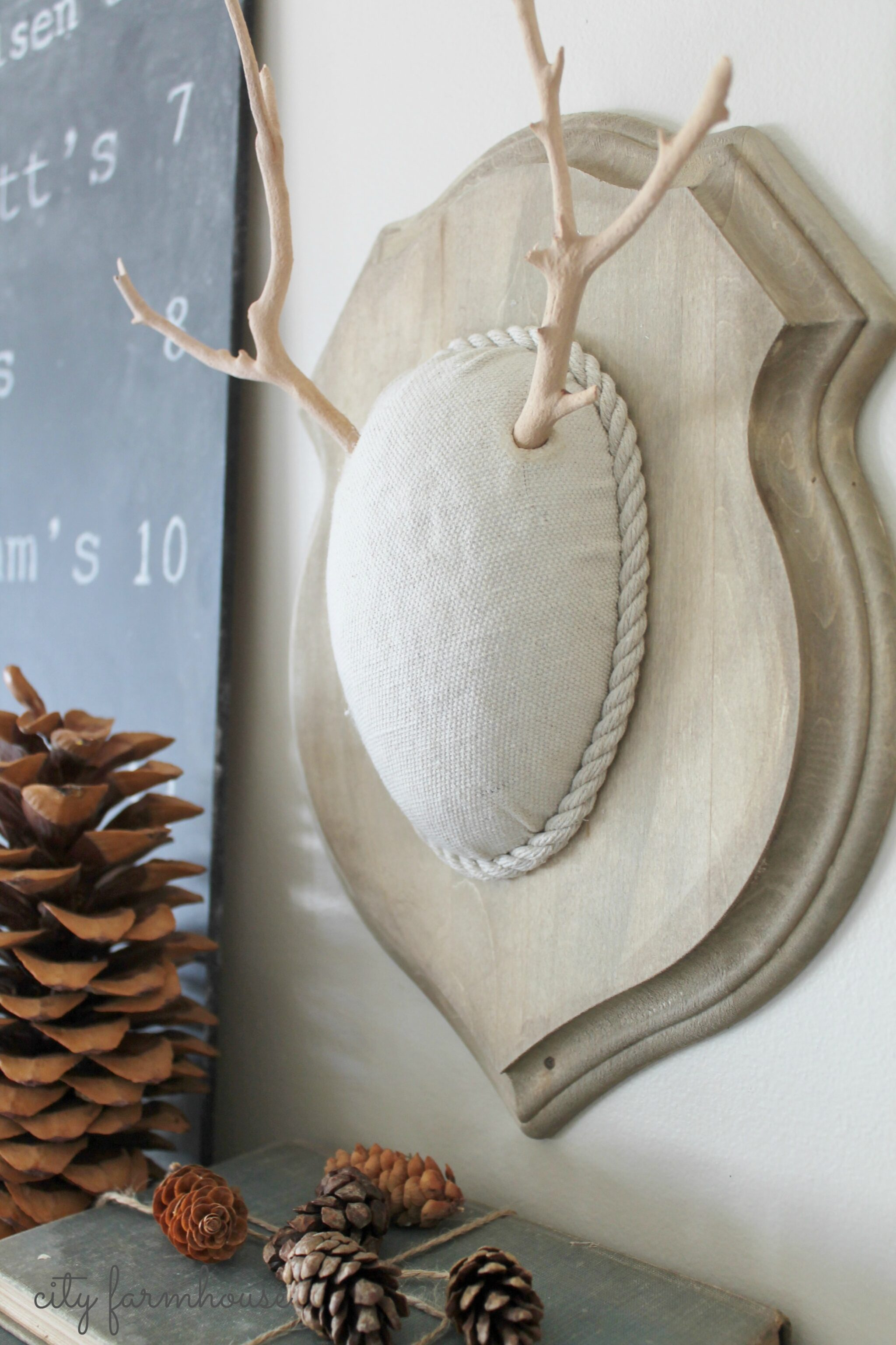 DIY Faux Driftwood Deer Antlers City Farmhouse