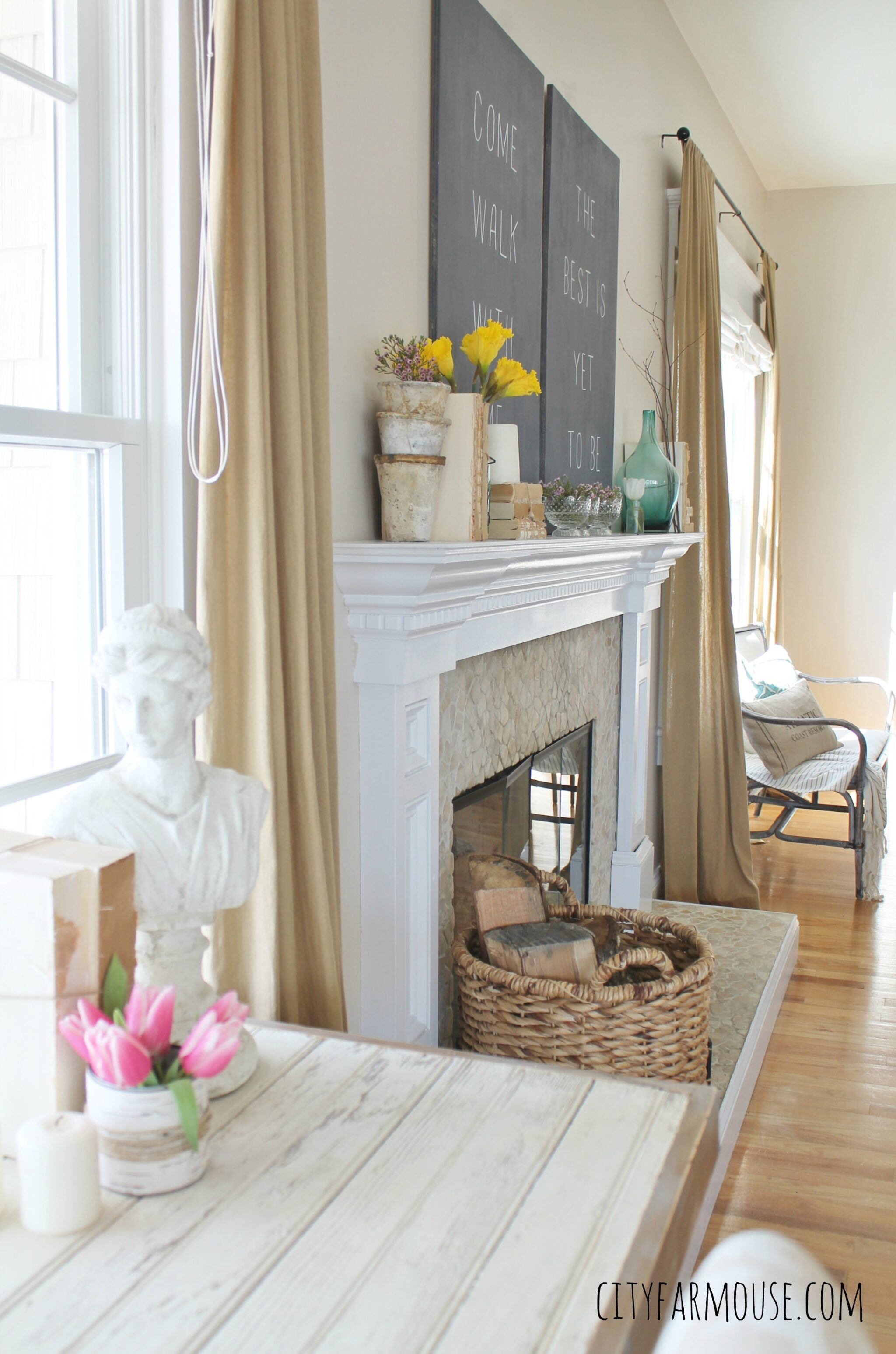 Seasons Of Home  Easy Decorating Ideas for Spring   City Farmhouse Seasons of Home Easy Spring Decorating Ideas  City Farmhouse  DIY Barstool  Desk