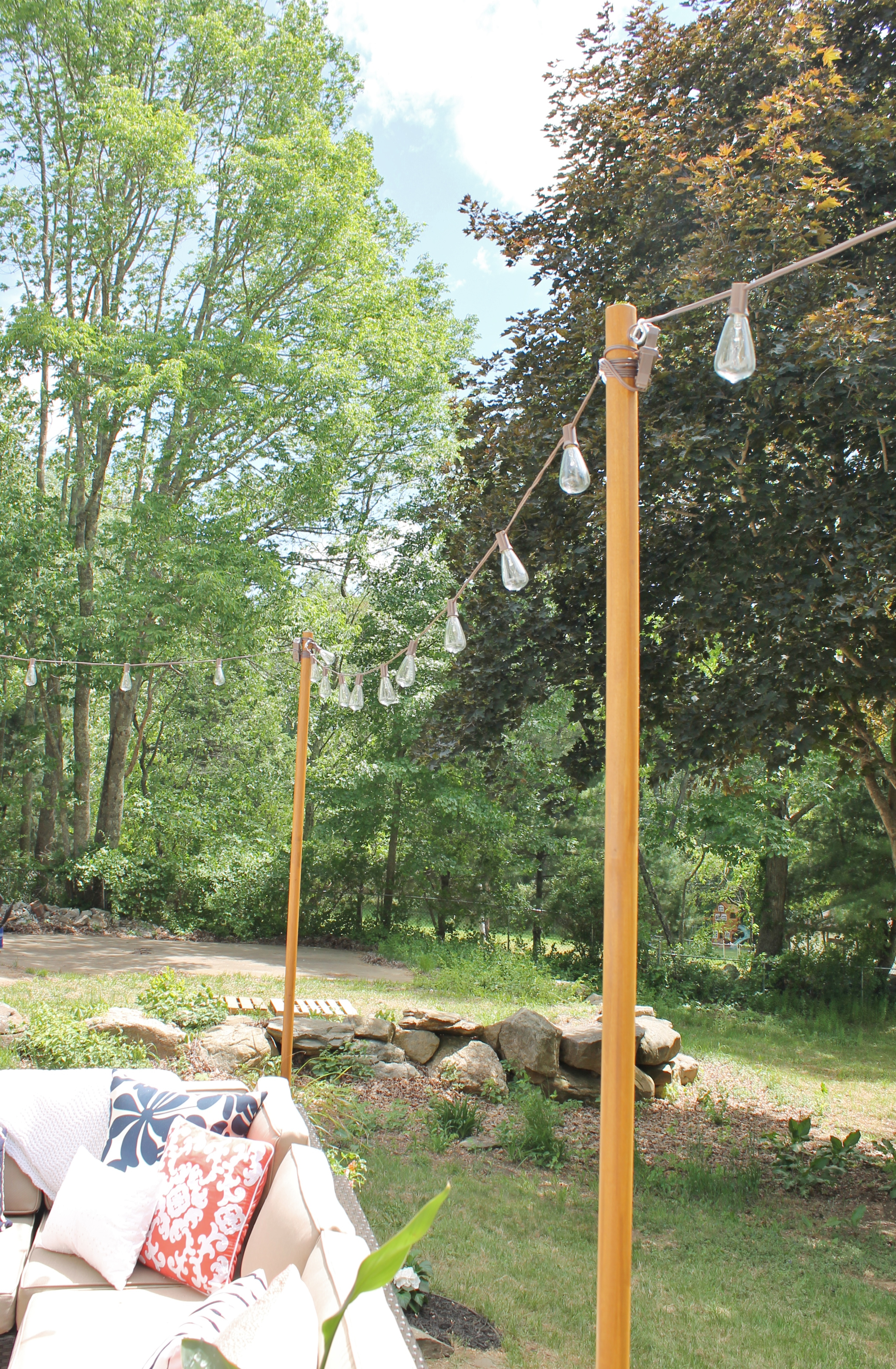 DIY Outdoor Light Poles - City Farmhouse on Backyard String Lights Diy id=77622