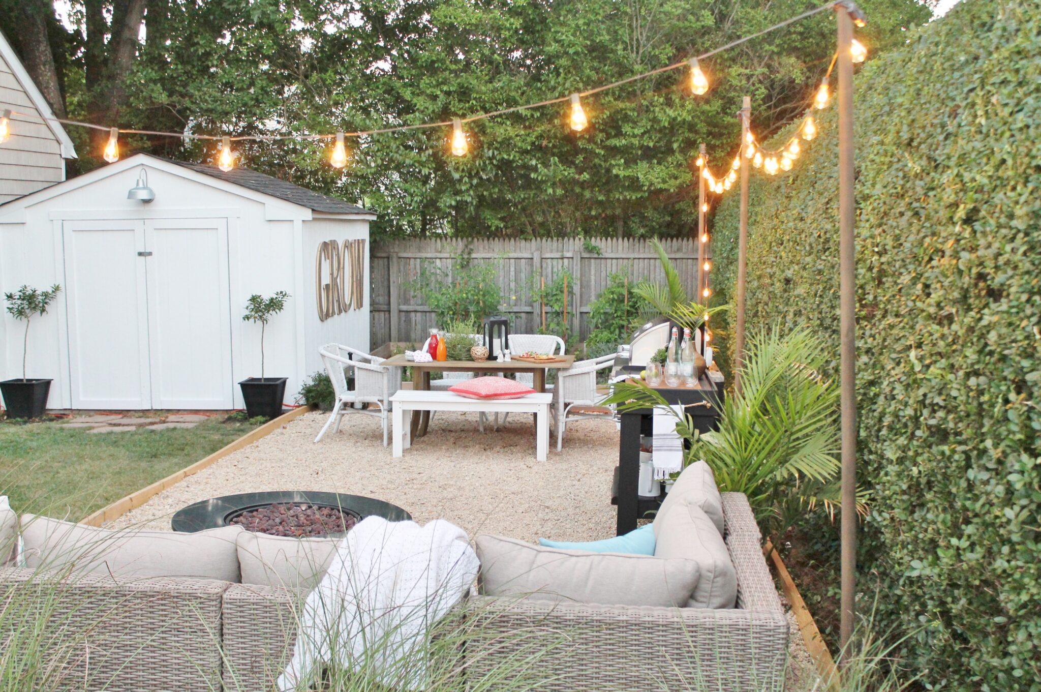 Outdoor String Lights + Small Backyard Reveal - City Farmhouse on Farmhouse Yard Ideas id=12973