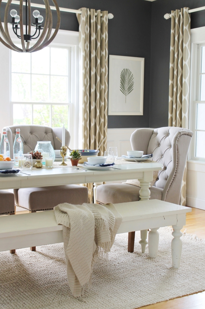 Celebrate Summer Home Tour With Simple Coastal Updates ... on Farmhouse Dining Room Curtains  id=42240