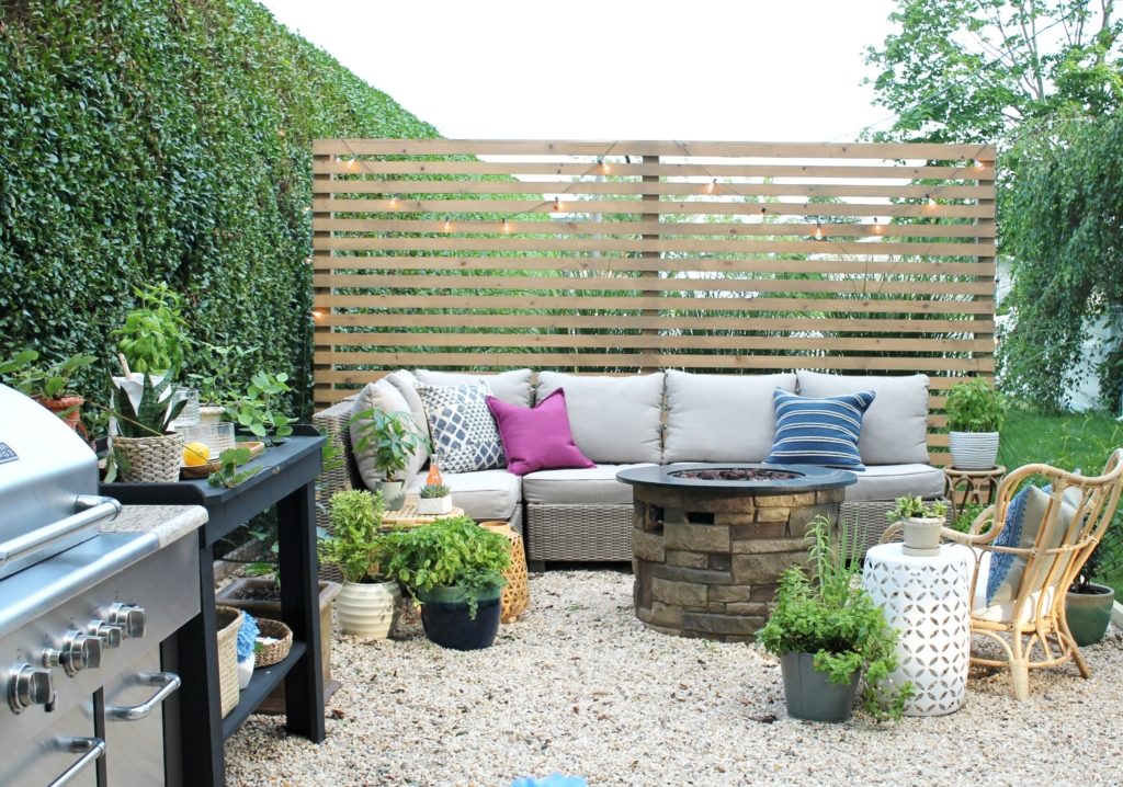 modern wood slatted outdoor privacy
