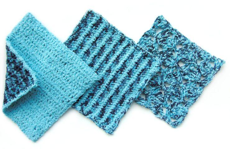 Free Crochet Patterns for Dish Cloth Trio by www.CityFarmhouseStudio.com