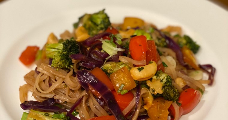 Cashew vegetable stir fry with pad thai rice noodles