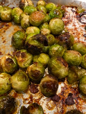 Brussels Sprouts roasting in the oven Maple Glazed Brussels Sprouts & Bacon City Foodie Farm