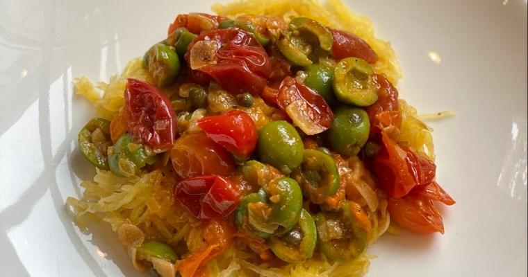 Vegetarian Spaghetti Squash Puttanesca