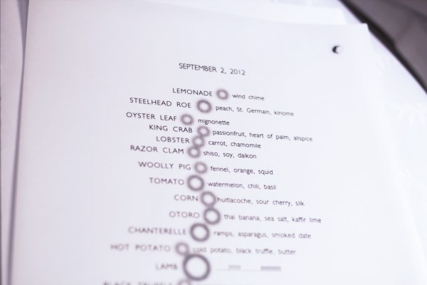 September 2, 2012 Alinea Menu