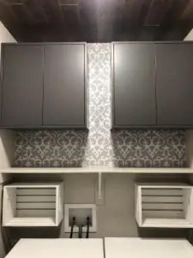 Ikea EKET gray cabinets