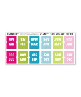 Mini Monthly Candy Girl planner tabs