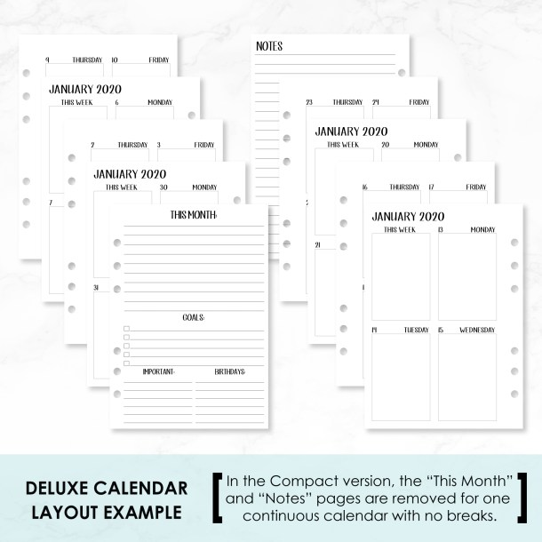 A6 2020 Week on 2 Pages Vertical 1 box per day deluxe example