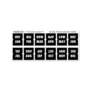 Mini Monthly Black Raven planner tabs