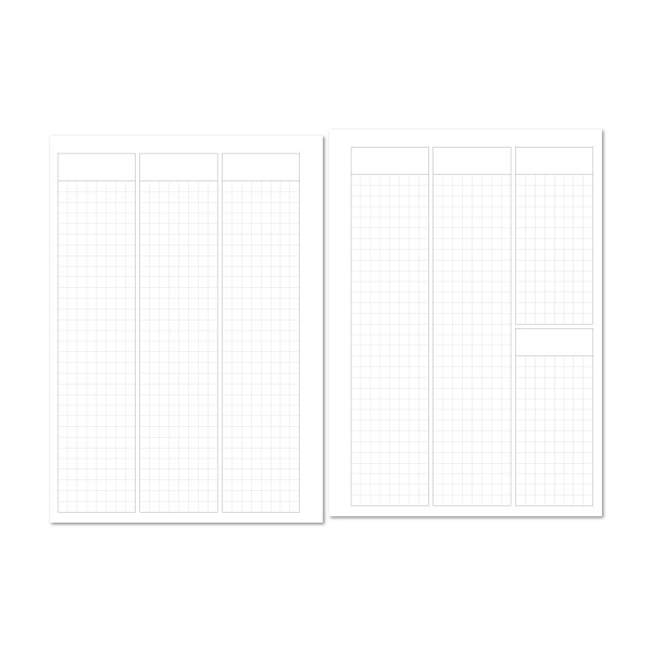 Week on 2 Pages Vertical header with Grid Calendar Refill