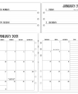 A5 Complete Horizontal 2021 calendar with white tabs