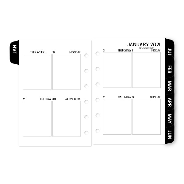 Pocket Week on 2 Pages Vertical 2021 calendar with Black Tabs