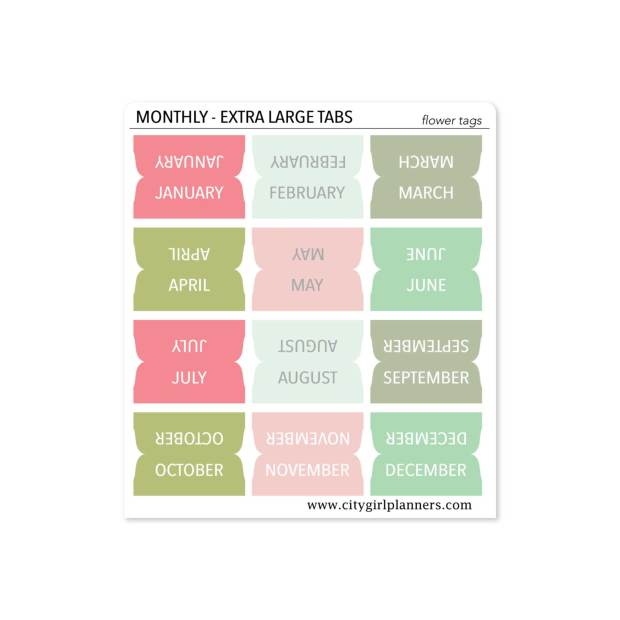 XL Monthly Planner Tabs Flower Tags