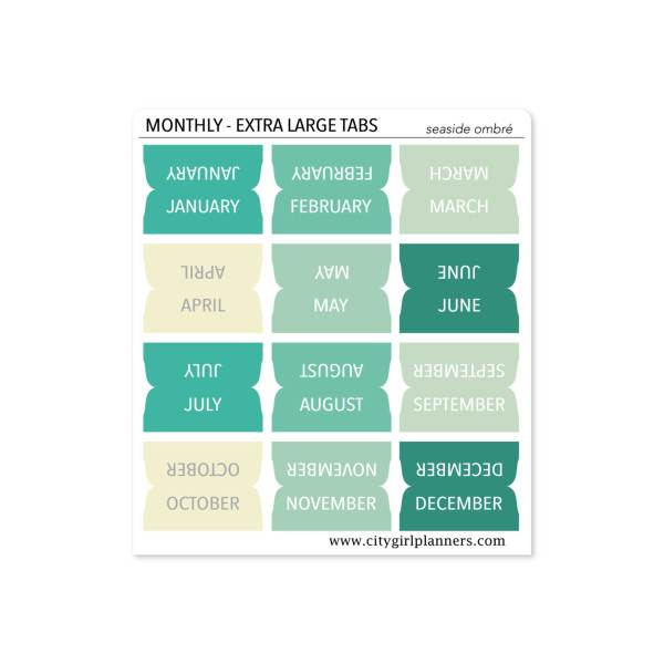 XL Monthly Planner Tabs Seaside Ombre