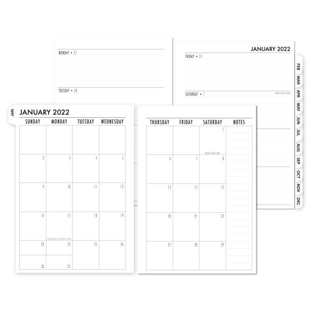 2022 Complete Horizontal Tabbed Deluxe Calendar - WHITE TABS