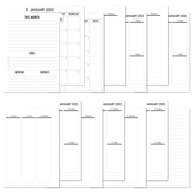 2022 Complete Vertical Tabbed Deluxe Calendar - WHITE TABS