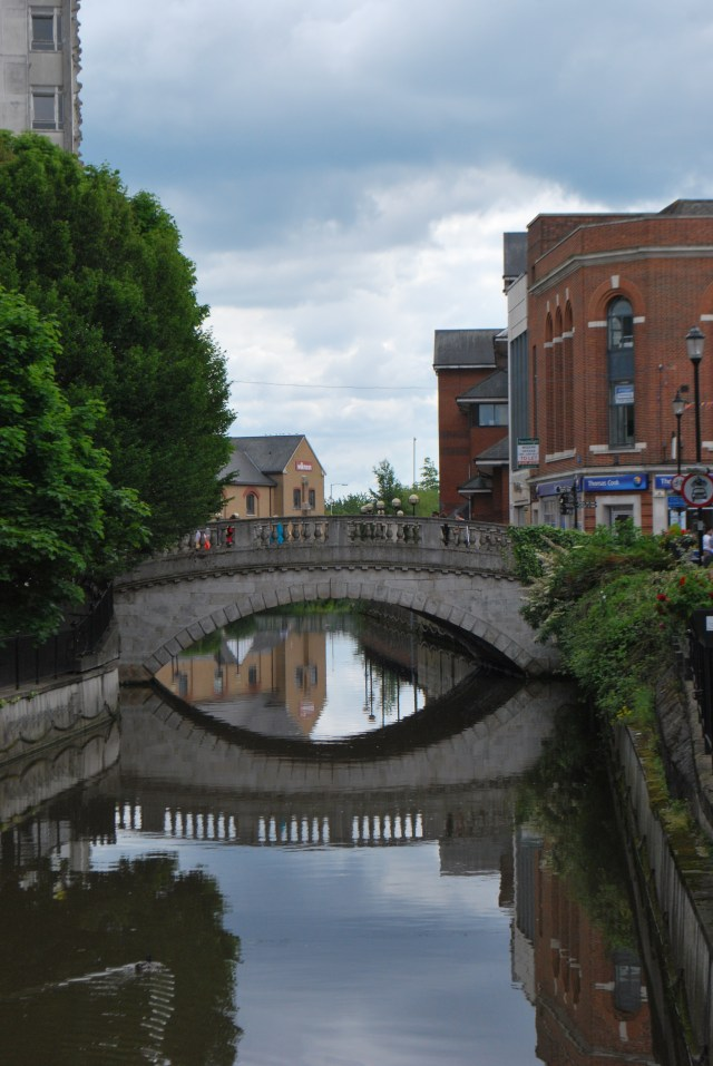 View of Chelmsford city centre showing the river and the stone bridge