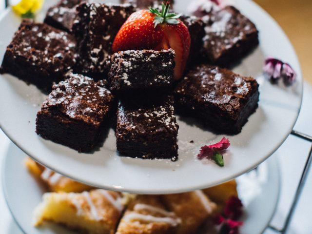 A plate of cakes for afternoon tea at Hylands Estateylands Estate