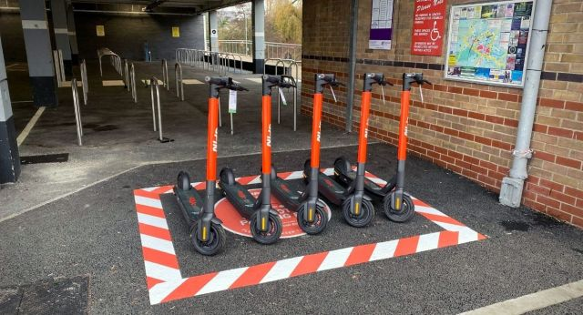 e-scooters parked in Chelmsford city centre by Riverside Leisure Centre