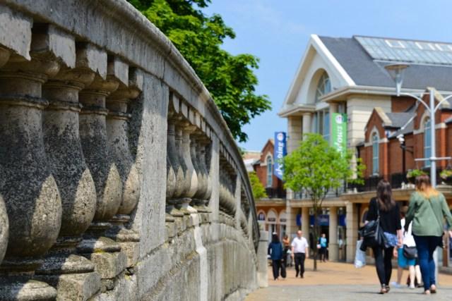 Chelmsford high street seen from Stone Bridge