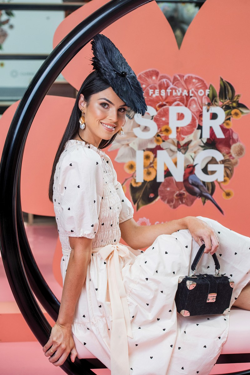 Dress - Myer $134.95 • Headwear - Sonlia (High Society by Bernice Patton) $375 Bag and Jewellery - Colette • Shoes - Forever New $79.99 All fashion available at Cairns Central. Styled by: Cairns Central Racing Fashion Stylist Amanda Macor