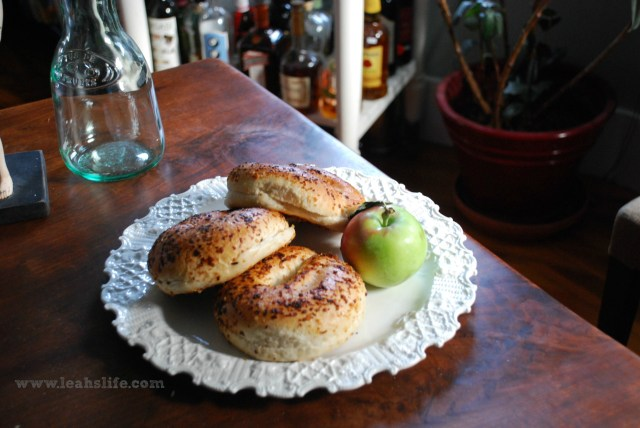 Onion bagels are prefect with some sharp cheddar and a freshly picked fall apple.