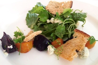 Chef Lara's Roasted Beet and Baby Kale Salad from the Chatham Bars Inn's Sacred Cod Restaurant.  Photo Courtesy of the Chatham Bars Inn