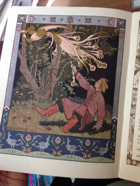 One of my childhood books. This is from The Tale of Tsarevich Ivan, The Fire Bird and the Grey Wolf.
