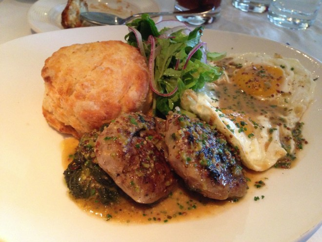 Sausage, egg and a biscuit at Craigie on Main.