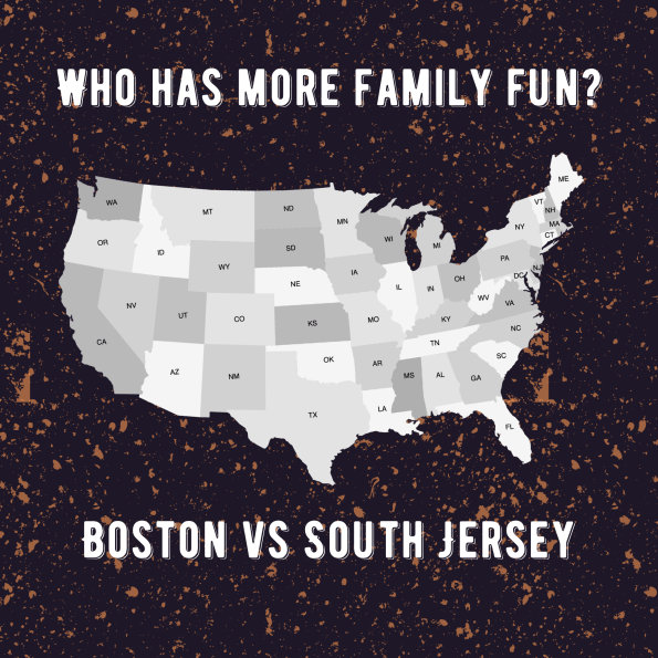 map of US - Who has more family fun Boston or South Jersey?
