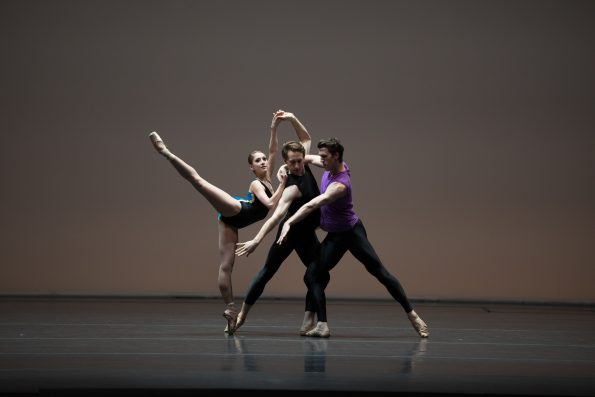 Hannah Bettes, Patrick Yocum, and Roddy Doble in William Forsythe's Pas/Parts 2018; photo by Rosalie O'Connor; courtesy of Boston Ballet